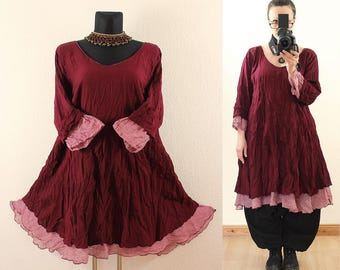 Wein Red FLOATY Fairy Long Tunic DRESS Plus Size 16 18 20 22 Gothic Vintage Lagenlook Baggy Linen Cotton Spring Summer 1x 2x