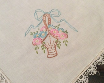 """Vintage Crisp White Tablecloth Flower Basket Embroidery in Corners 62"""" X 70"""" Cute White Scalloped Trim TB31"""