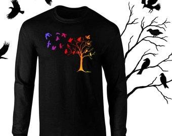 Long Sleeve Crows in Flight Raven Art T-Shirt