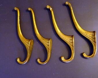 Large Antique Coat Hat Hooks for Coat Rack Set of 4