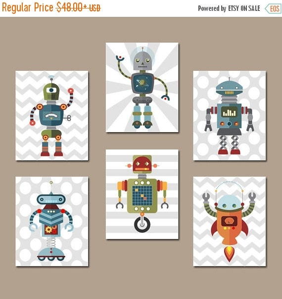 Robot wall art big boy bedroom pictures canvas or by trmdesign for Robot baby room decor