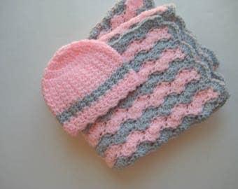 READY TO SHIP Crochet Baby Girl Blanket, Baby Showert Gift, Baby Travel Crib Blanket, Stroller-Car Seat, Baby Girl Gift - Pink & Gray