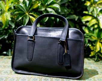 Vintage Coach Rare Black NYC Flight Travel Bag Made In the Usa Satchel Bonnie Cashin 9706 0428171