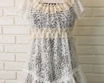 SPRING SALE Bohemian White and Cream Lace Mini Dress - Eco-Friendly, Made from Vintage & New Materials
