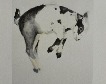 Jumping Goat PRINT 5x7 of original watercolor painting farm animal nursery decor baby Goat