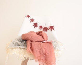 NEW Large Soft Merino Wool Scarf Shawl Naturally Dyed Medium Pink Brown
