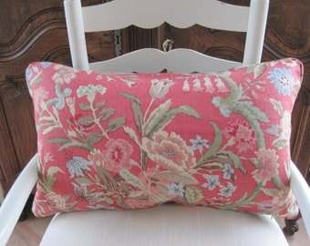 Lee Jofa Port Eliot Lumbar Pillow Cover David Eastman Design Raspberry Coral Green Blue 14x24
