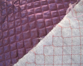 Home Decor Fabric Quilted Satin  Purple  Remnant