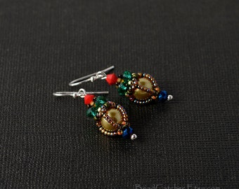 Victorian Beadwoven holiday earrings