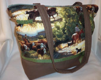 Western cattle horses cowboy duffle diaper bag Dads bag travel craft bag purse over night bag add a name great baby shower gift bag