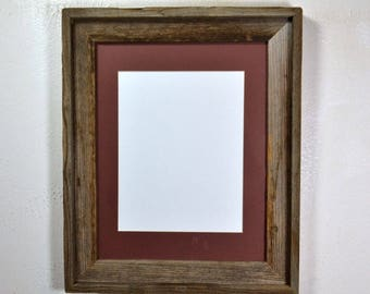 Picture frame with 8x10 mat without mat 11x14 from repurposed wood 20 mat colors available glass included Made in the USA