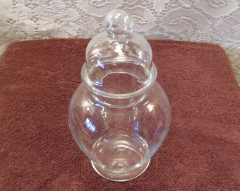 Apothecary Jar clear glass lidded jar vintage apothecary