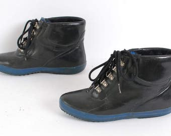 size 7 RAIN rubber rain 80s DUCK lace up ankle boots