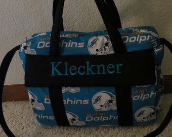 Miami Dolphins Diaper Bag with changing pad by EMIJANE