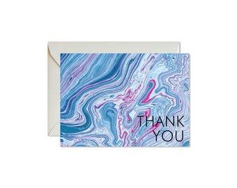 THANK YOU Indigo + Fuchsia Marble Notecards + Envelopes Pack   Boxed Set (8)   Abstract   Modern   Coastal