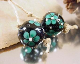 Handmade lampwork glass bead pair, Artisan glass beads, green beads, blue beads, black beads, flower beads,earring bead pair, SRA