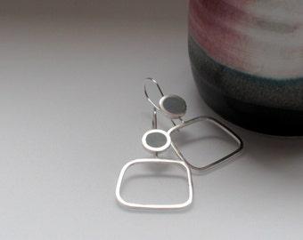 Square Hoops - Grey Resin Earrings - Lightweight Hoops - Clean-Lined Minimalist Earrings - Lightweight Hoops