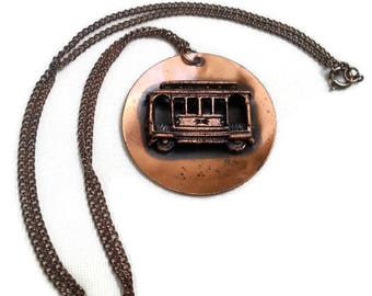 Vintage Copper Streetcar Medallion Necklace