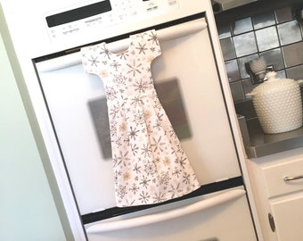 Kitchen Towel Dress / Dish Towel Dress  with Snowflakes in White Gray Gold / Tea Towel Dress / Hostess Gift