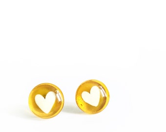 Yellow heart earrings |  post glass earrings | handpainted by azurine