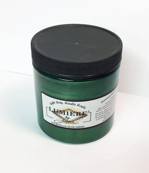 Lumiere Metallic Olive Green 562 - 8 oz Size - Brilliant Light Body Metallic Acrylic Paint - Art Craft Fabric Canvas Wood Paper Metal Pearl