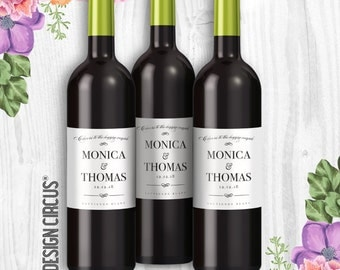 Wedding Wine Bottle Labels - Cheers to the Happy Couple Labels- Modern & Simple Labels - Party Wine Favors