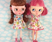 Jellybean and Blue Dress for Blythe  with Flutter Sleeves