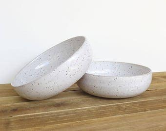 Pasta Bowls in Glossy White Glaze, Stoneware Pottery, Dinner Salad Bowl - Set of 2
