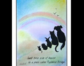 RAINBOW BRIDGE Pet Loss Bereavement cards pack of 6  by Suzanne Le Good