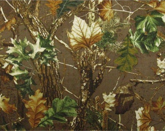 Woodland- Camo- Tan - Branches & Leaves - Cotton Fabric- Sew Christmas Gifts - By the half and yard cuts.