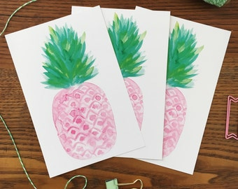 Pink Pineapple. Pink Pineapple Postcard. Postcard Set of 3.  Watercolor Pineapple. Thank you cards. Gift under 10. Watercolor Fruit Cards