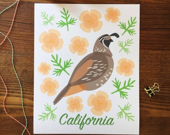 California Art. California Poppy. California Quail Art. California Poppies. State Themed Art. Home Decor. State Flower. CA Art. State Bird.