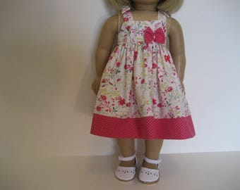 18 Inch Doll Clothes - Hot Pink Floral Dress made to fit dolls such as the American Girl doll clothes