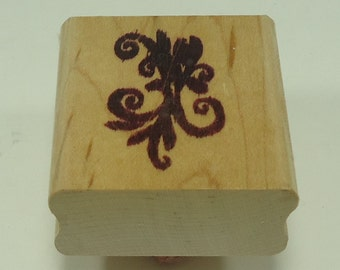 Floral Filigree Wood Mounted Rubber Stamp (Right)