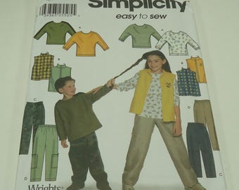 Simplicity Easy To Sew Child's And Girl's And Boy's, Vest, Pants, And Knit Top Pattern 7043 Size 3 - 4 - 5 -  6