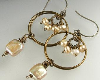 Boho Gypsy Bronze Pearl Long Dangle Earrings with Vintaj Antiqued Brass
