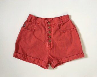 Vintage 1990s red denim shorts / button fly shorts high waisted denim colored denim