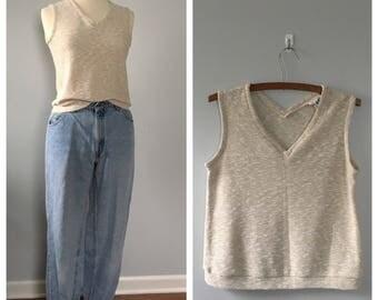 Vintage 1970s tan knit Minimalist tank top