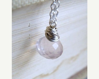 Valentines Day Sale AAA Rose Quartz Gemstone Sterling Pendant Necklace GN4