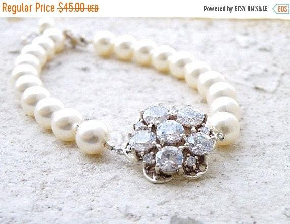 Black Friday Sale Bridal Bracelet Swarovski Ivory Pearl  CZ Silver AB1 Wedding Jewelry