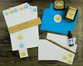The Tea Drinker's Letter Writing Set - Yellow and Blue vintage teapots