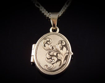Art Nouveau Inspired Hand Engraved Sterling Silver Locket