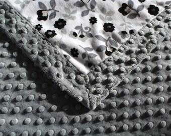 Grey Minky Blanket, Bubble, Grey, White, Black