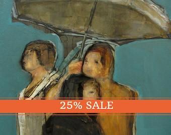 25% OFF SALE! Abstract Art Umbrella Figure Figurative Portrait Giclee Print Colette Davis - Rain Out
