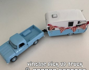 Calling all Glampers! Vintage 60s RETRO Pick Up Truck & Shasta Camper - Decked out with a Red Gingham Bunting
