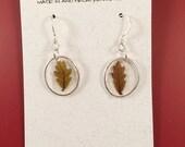 White oak leaf earrings in sterling silver