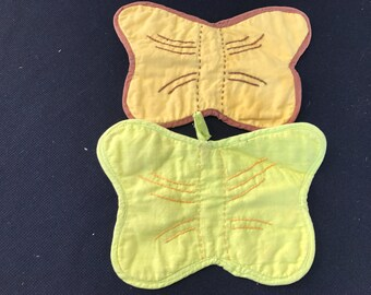Pair of Vintage Yellow and Brown Hand Embroidery Butterfly (Butterflies) Potholders