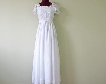 Cotton Eyelet Full Length Dress in White