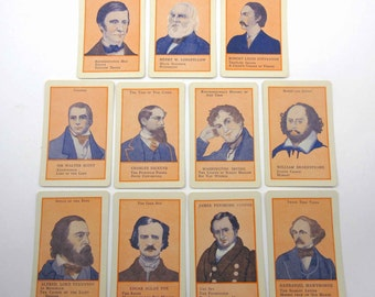 Vintage Children's Authors Playing Cards with Characters Set of 11
