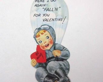 Vintage Children's Novelty Valentine Greeting Card with Cute Boy Pilot and Parachute
